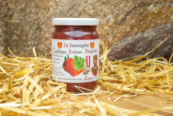 Confiture Fraises - rhubarbe - La Sauvagine